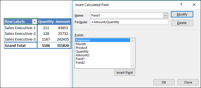 Insert Formula In Calculated Feild To Insert Calculation In Pivot Table