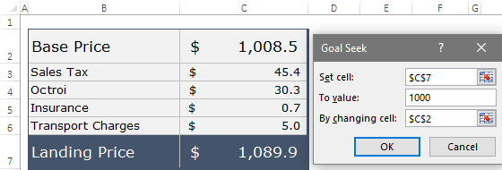 specify values to use goal seek in excel