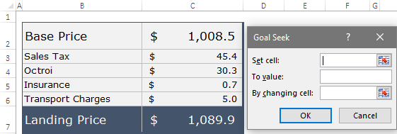 using goal seek in excel to calculate new final price