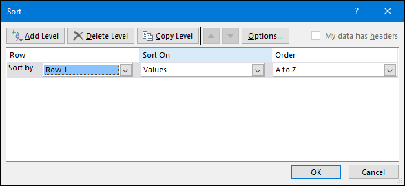 select row to sort horizontally in excel