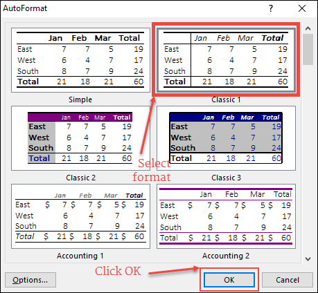 select format and click ok to apply formatting with auto format in excel