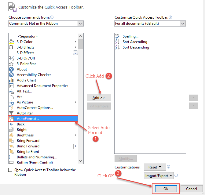 select from auto format command in excel to add to quick access tool bar