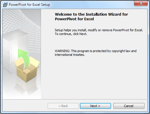 Start Installation To Enable PowerPivot In Excel 2010