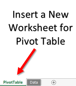 insert a new worksheet to use vba to create pivot table in excel