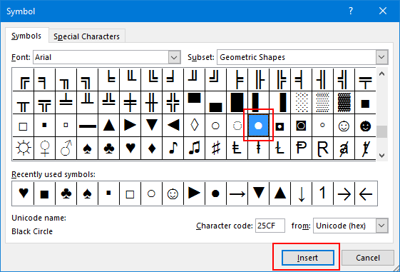 Open Symbol Dialog Box To Insert Bullet Point In Excel