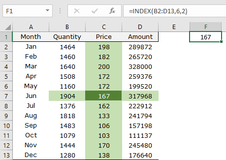 how to use excel index function example with arrays column row intersect