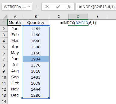 how to use excel index function example with arrays
