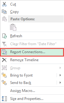 Click Report Connections To Link Pivot Table Timeline