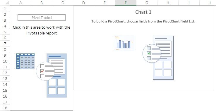 blank pivot table and excel pivot chart