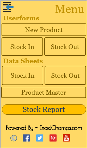menu in excel inventory management template
