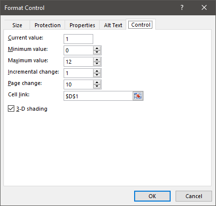 format control scrollbar to add a vertical line excel chart