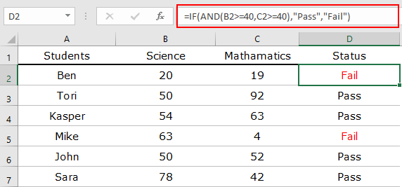 how to combine if and and functions insert formula