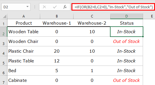 how to combine if and or functions to get status in stock table insert formula