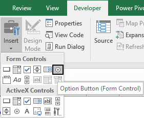 how to create an interactive chart in excel insert option buttons