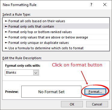 how to highlight blank cells click format button