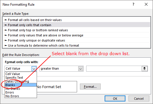 how to highlight blank cells  select blank from drop down