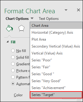 select target data bar to create a bullet chart in excel