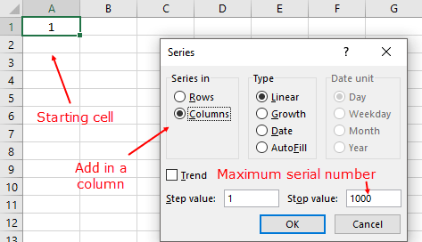 how to automatically add serial numbers in excel with fill series
