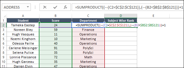 add formulas to data table to create rank if with sumproduct for conditional ranking