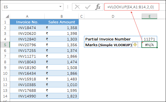 a normal invoice lookup partial match min