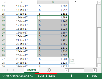 check sum from status bar to verify that sum values between dates