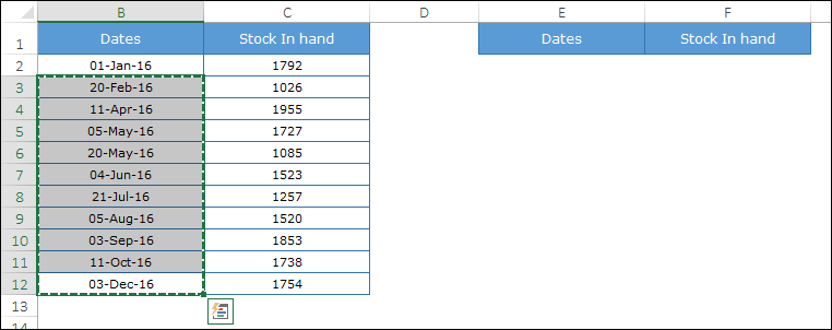 copy dates from original table to create a step chart in excel