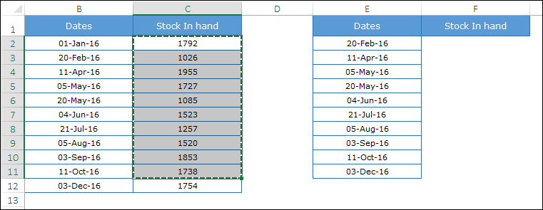copy stock values to create a step chart in excel