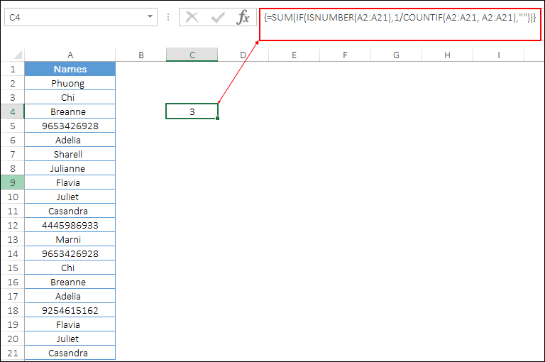 count unique values only number