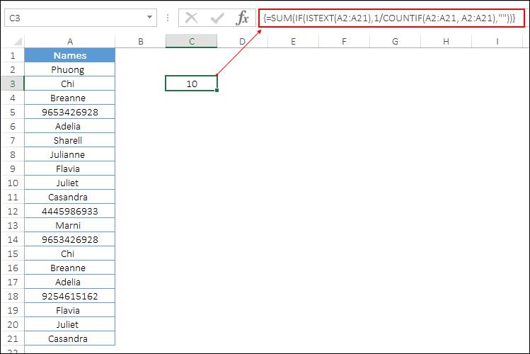 count unique values only text