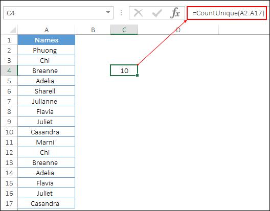 count unique values with vba