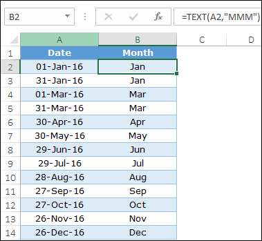 get month from a date with text function