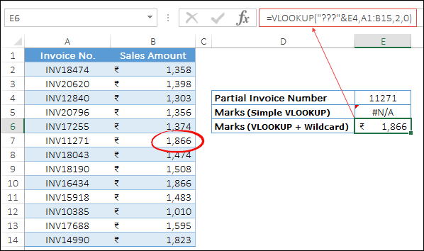 partial invoice lookup with wildcards min