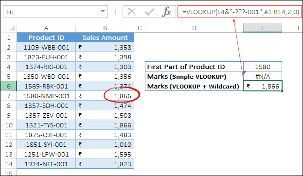 product id lookup with question mark wildcard min