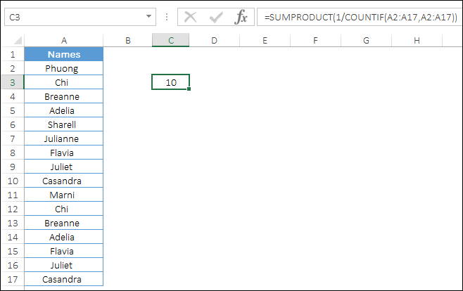 sumproduct to count unique values