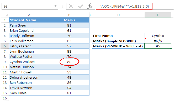 use wildcards with vlookup to lookup first name with asterisk