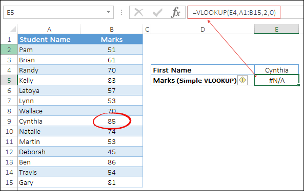 use wildcards with vlookup to lookup first name with space