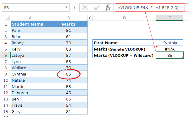 use wildcards with vlookup to lookup first name with space using asterisk min