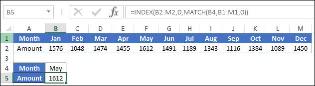 horizontal lookup index match enter formula