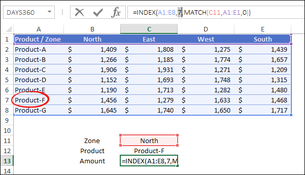 two way lookup index match returns row number