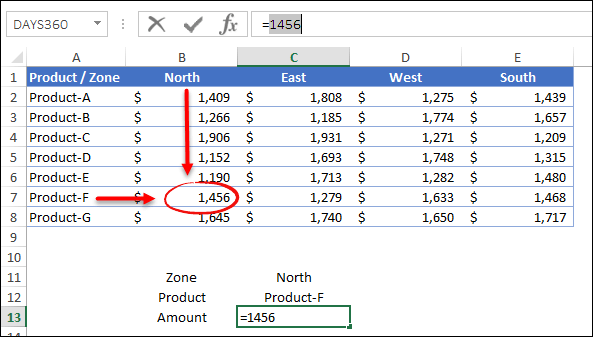 two way lookup index match returns sales amount