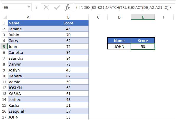 case sensitive lookup index match enter formula