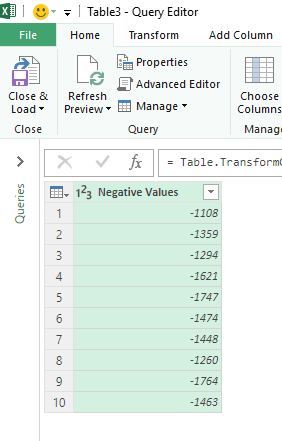 convert negative number into positive using power query data in editor