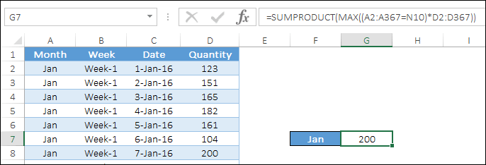 max if formula without arrays using sumproduct