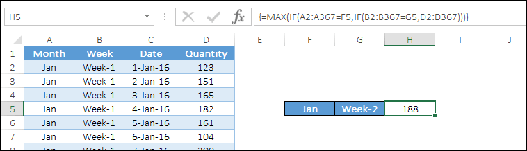 multiple criteria with max if formula