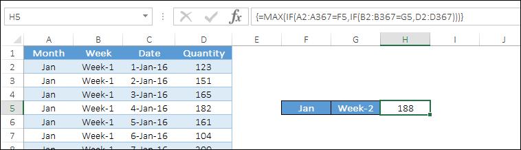 multiple criteria with max if formula