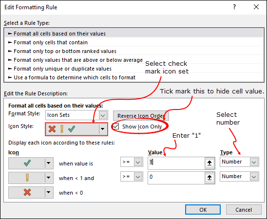 use conditional formatting to insert a green check mark in cell by typing 1