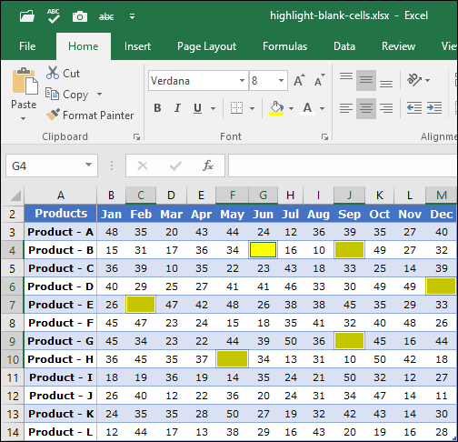 apply color to highlight blank cells in excel