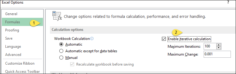 insert a timestamp in excel with circular reference activate iteration