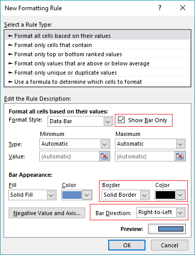 show bars only to create a population pyramid chart in excel with conditional formatting