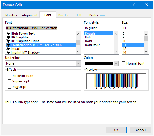 change font to barcode from normal using formatting options